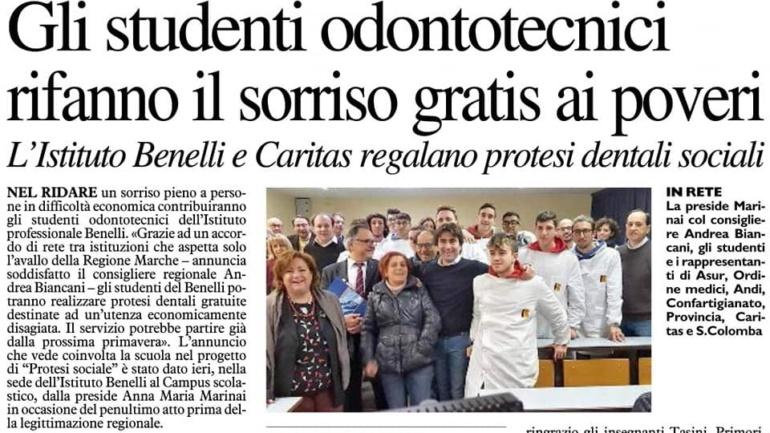 Protesi dentali sociali grazie all'Istituto Benelli e Caritas Pesaro