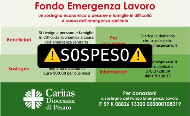 Il Fondo Emergenza Lavoro è sospeso dal 27 maggio!